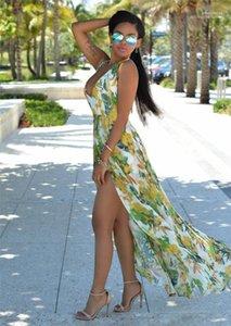 Elbiseler Şifon Backless Flora Baskılı Kadın Tasarımcı Elbiseler Yaz Kadın Maxi Elbiseler Kadın Yeni Uzun Parti