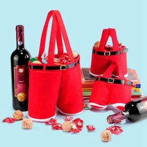 Pantalones de Santa Claus Bolsas de regalo Navidad Pantalones de Santa Patrón Bolsas de regalos Bolsas de dulces de boda Envoltura de botellas de Navidad