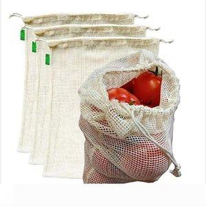 Izgara Çanta Sebze Meyve Çanta Saf Renk Çevre Alışveriş Çantaları Ev Depolama Mutfak Organizasyonu WY341Q Çantalar İpli