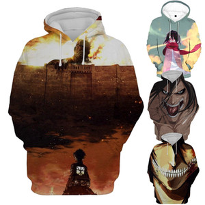 Атака на толстовки с капюшоном Titan Мужчины Женщины 2018 с длинным рукавом с принтом пуловеры Толстовки с капюшоном Повседневная 3D Толстовка Аниме Джемпер больших размеров