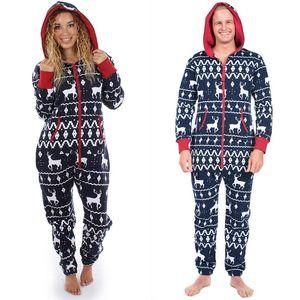 Unisex Define Masculino Mulheres Plus Size Conjuntos Nova Família Costume férias Pijama Natal cabido cervos com capuz Zipper Pijamas Set