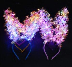 LED Bunny Ear Headband Light Up Rabbit Long Ears Hairband kids Adult Wedding Halloween Christmas Birthday Party Glow Decoration favors