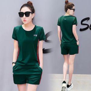 L'été deux femmes ensemble pantalon 2 pièces de tenues vertes YICIYA 2020 taille plus courte haut et co-ord pantalon set 2 pcs