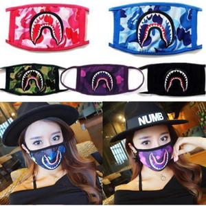 Mode Ape Shark Drucken Gesichtsmaske Unisex Waschbar Mouth-Muffel Tarnung Camo Schutzgesichtsmasken Cycling Sports Sharks 2020 Mask