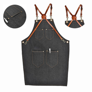 Denim Bib Apron Leather Strap Barista Baker Work Uniform Bartender Bbq Chef Cook