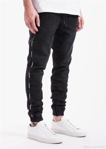 Спортивная мужской Весна Дизайнер джинсы Black Zipper Дизайнер Стильный Прохладный карандаш штаны Длинной Кожа да кости полосатых брюк
