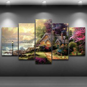 Tuval Wall Art Modüler Resmi Salon Dekor 5 Paneli Deniz Kıyısı Cottage Klasik Yağlı Boya HD Baskı Pengda İçin Modern Çerçeve
