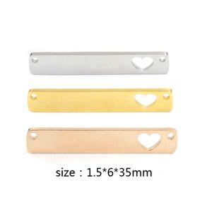 Comercio al por mayor Espejo de Acero Inoxidable Pulido En Blanco Estampado Rectángulo Hueco Corazón Conector Encanto Joyería DIY 1.5 * 6 * 35mm 20 pieza / lote