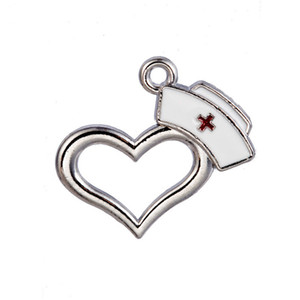 50pcs / lot alliage coeur médical RN Hat Dangle Charmes émail infirmière Cap pendentif charmes pour DIY Bracelet Collier bijoux de mode YD0041