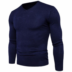 Men's Sweaters Spring Autumn Fashion Slim Fit Solid Knitted Long-sleeved Pullovers Sweater Men Tops Cotton V-neck Plus Size M-2XL