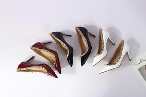Perçin Patent Deri Glittery Ayakkabı Kadın Sivri Burun Yüksek Topuklu Çivili Strappy Slingback Stilettos Deri Sandalet Pompaları