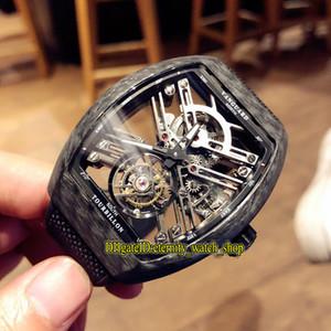 De calidad superior NUEVO SARATOGE VANGUARD ESQUELETO V 45 T SQT CARBONE del reloj para hombre real Tourbillon Automático de fibra de carbono Caso esquelético de relojes deportivos