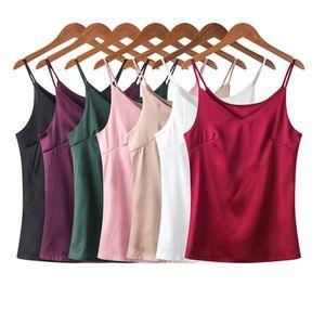 Women Camis Silk Halter Top Women Camisole 2020 Summer Style Sexy Sleeveless Vest Slim White Basic Pink Crop Top Plus Size 4XL