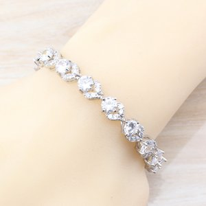 New Fashion 925 Silver Women Wedding Costume 4PCS Jewelry Sets Natural White Crystal Hoop Earrings Necklace&Pendant Ring Size