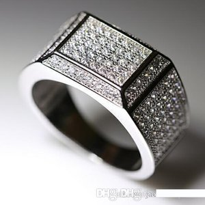 High Victoria Wieck Luxury Jewelry Pave 925 Sterling Silver Full Stunning White Sapphire CZ Diamond Men Engagement Band Ring Gift Size 8-12