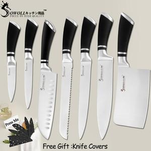 Couteaux de cuisine Couteaux en acier inoxydable Paring Utilitaire Santoku Pain Slicing Chef de Broyage Couteau de cuisine Outils d'accessoires