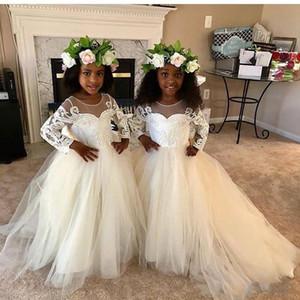 2020 Yeni Plaj Çiçek Kız Elbise Boho İlk Communion Elbise Küçük Kız V Yaka Uzun Kollu A-Line Ucuz Çocuklar Için gelinlik