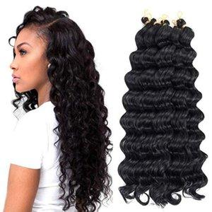 6 packs / lot 20 inç derin dalga tığ saç uzantıları Kinky Curl moda kadınlar için sentetik örgü saç