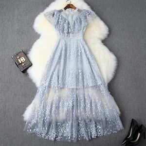 2019 Estate Elegante blu senza maniche girocollo romantica stampa floreale Mesh Dress ricamo in rilievo Midi partito Abiti casual JN10T9922