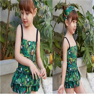 2020 New Baby Girl's Swimsuit Kid's One Piece Swimwear Children Solid Bodysuit Skirt Swimsuit for Girl Beachwear