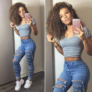 Frauen-Denim-Loch-Hosen Sexy Fashion Stretch zerrissene dünne hohe Taillen-Jeans Leggings UK Größe 6 8 10 12 14 Plus Size