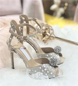 Frauen Sandalen mit durchgehender Weiß-Perlen Sacora 100 Perle verziert Pumps Riemchen Peep-Toe Sandale Brautschuhen