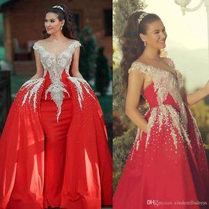 2020 Sereia Red Vintage Prom Vestidos, com destacável de trem Contas de Cristal Formal vestido de festa vestidos de noite robe de soiree Abendkleider