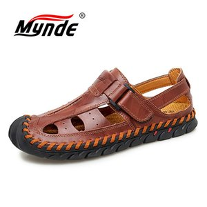 Mynde  Hot Sale Men Sandals Sewing Slip-on Ankle-Wrap Genuine Leather Leisure Driving Shoes Men Beach Shoes Casual