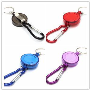 Pure Color retráctil llavero de metal anillo de identificación Placa cuerda de seguridad sostenedor de la cadena clip de la correa de días festivos WY468Q regalo