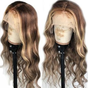 ondulação natural loira destaques laço completo marrom peruanas 360 Lace perucas frontais Pré arrancado com bebê cabelo Lace frente Humanos perucas de cabelo hairline