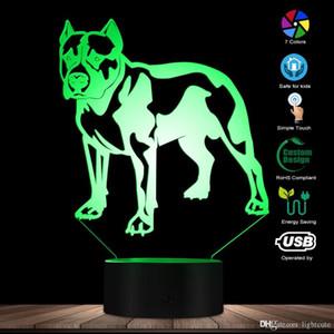 Mignon PitBull Terrier 3D Illusion optique Veilleuse personnalisée Pet Portraits Nom Chambre Lampe de table chien de compagnie amants de chien cadeau