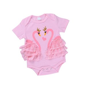 Barboteuses bébé pour bébé fille Vêtements styl barboteuses Crown Swan And Love Lace Imprimer