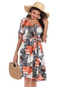 Designer-Kleider Fashion V-Ausschnitt Bow Bind Womens Designer-Kleider Beiläufiges Frauen Kleidung Blumen Frauen Drucken