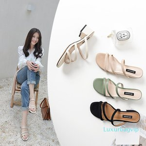 Pop2019 Cool Leather Slipper One Font Coarse With Fasciola Group Combine Inside And Outside Full Skin Moisture Sandals Comfortable Woman