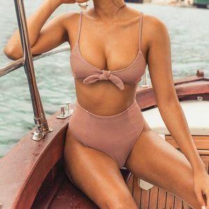ISHOWTIENDA Kadınlar Katı Ilmek Yüksek Bel Bikini Set İki Adet Mayo Mayo Plaj Suit stroje k pielowe damskie