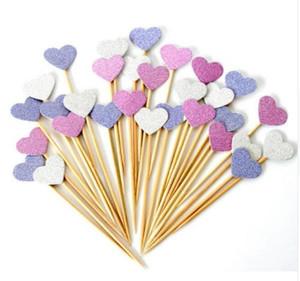El nuevo llega el corazón hecho a mano encantador Cupcake Toppers, decoraciones de la ducha del bebé de la muchacha, fuentes del partido cumpleaños decoración del banquete de boda