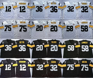 12 Терри Брэдшоу 20 Rocky Bleier 32 Franco Harris 36 Jerome Bettis 58 Jack Lambert 75 Joe Greene Белый Черный Home Away Трикотажные Изделия