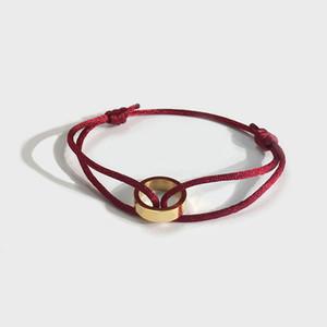 joyería de moda las mujeres pulseras mano de oro individual anillo rojo del amor pulseras de amor cuerda negro para mujeres hombres Pulseras pulseras del encanto