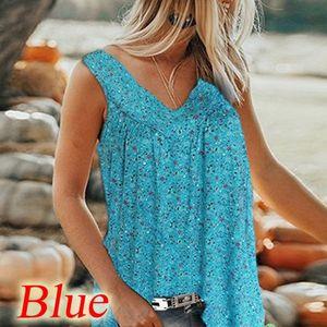 Plus Size Fashion Design Womens Summer Floral Print Sleeveless V Neck Loose Casual Tank Top Blouse Elegant Shirts