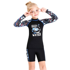 2020 Kids Swimsuit long sleeve Children's one piece Swimwear back Zipper Elastic Diving Suits Snorkeling Surfing Wetsuits c