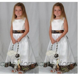 2019 new Ankle length Camo flower girl dresses For wedding Stain Crew A Line Cute Pageants Gowns for Girls first holy communion dresses