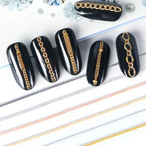 Catena 6pcs Hollow metallo per Nails fascini colore misto gioielli piccolo Gold Line 3D della lega Studs Strass Nail Art Accessories BEFB01-04