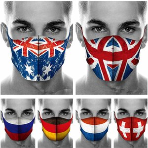 Fashion Designer Face Mask America 3D Flag Print Masks Men Women Washable Cotton Dust-proof Protective Covers Outdoors Sports Masks
