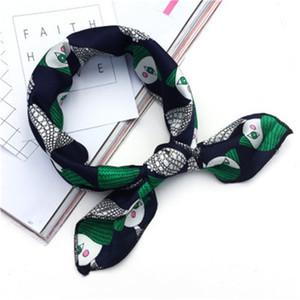 Summer Square Sciarpa Hair Tie Band Women Wrap Elegante Small Vintage Silk Satin Sciarpa Head Kerchief Neck D19011106