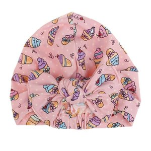 Toddler Baby Children Swimming Cap Summer Watermelon Ice Cream Print Colorful Stretchy Beanie Twist Bowknot Pleated Bath Sun Hat