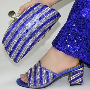 fashion African Women Matching Italian Shoe and Bag Set blue Italian Shoe with Matching Bag for Wedding! GR1-12