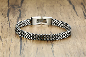 Double Rope Chain Mens Stainless Steel Bracelet silver color Punk Biker Pulseira Masculina Jewelry Chain Bracelet for Men