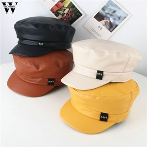 Womail Hat Winter Children Fashion Solid high quality Flat Roof Lmitation Leather beret cap Casual Wild Soft beret enfant