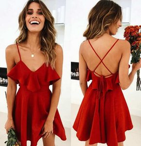 Lossky 여름 섹시한 복장 여자 2018 Backless 크로스 드로우 스트링 Ruffles 번들 허리 V 넥 스트랩 미니 드레스 Summer Red Vintage