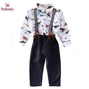 Pantaloni Dinosaur shirt Pudcoco del bambino dei vestiti del ragazzo Set Bebe manica lunga Salopette bambini Ragazzi Denim Bib complessiva con le parentesi graffe